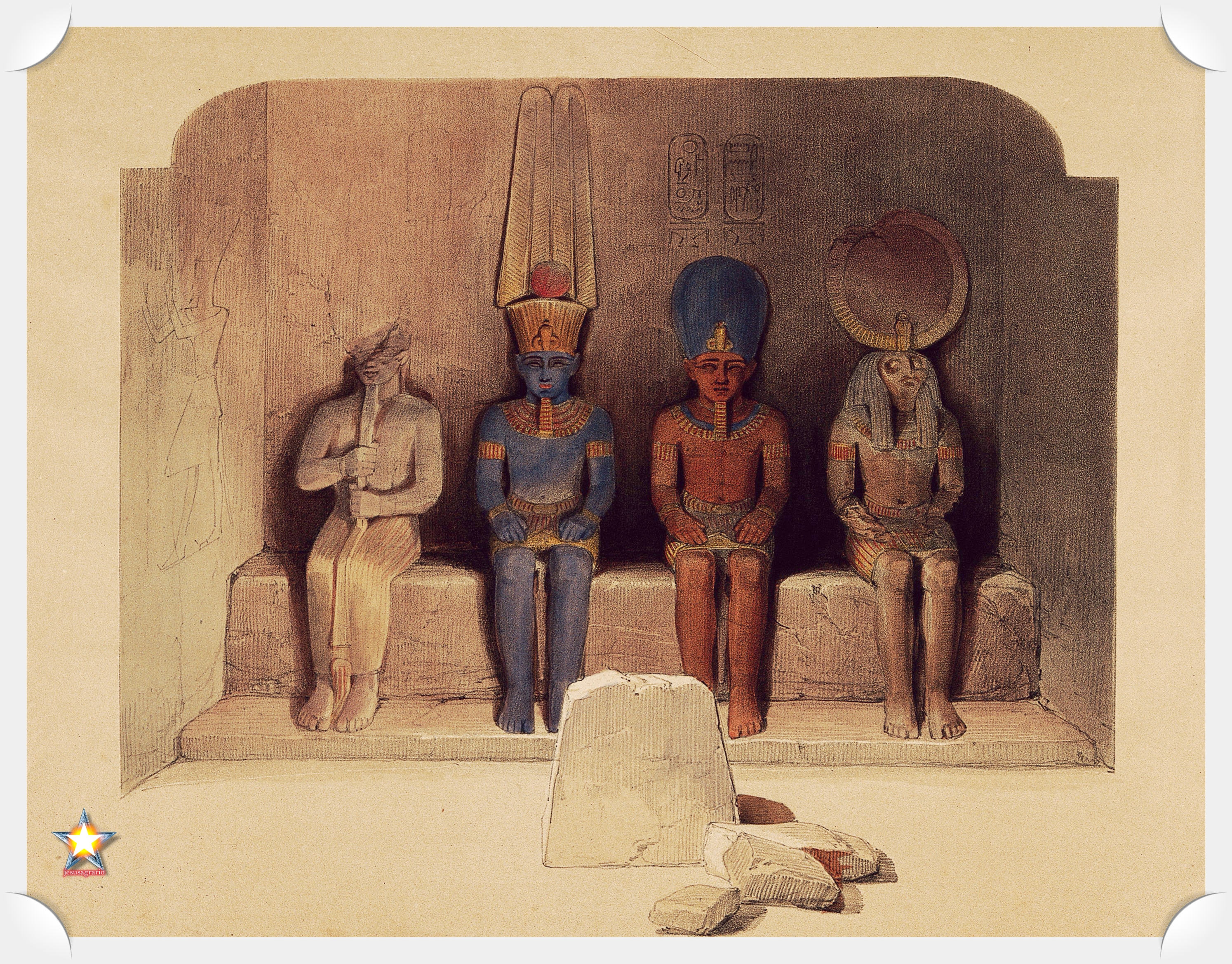 Ptah Amón-Ra Ramsés II y Ra-Horajti